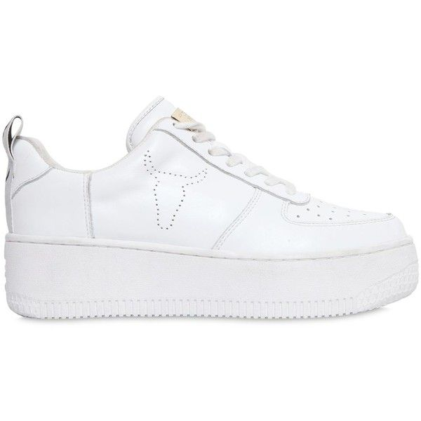 472892bdfc51 Windsor Smith Women 50mm Racer Leather Sneakers (615 BRL) ❤ liked on  Polyvore featuring
