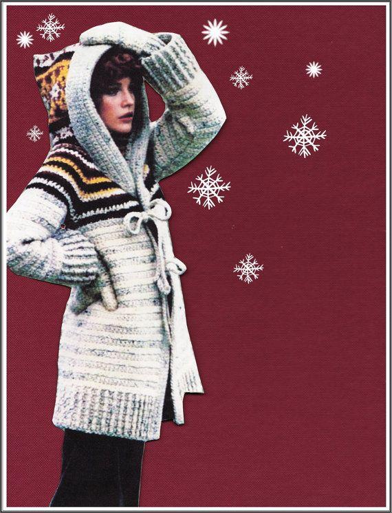 CROCHET Hooded Sweater PATTERN - Vintage 70's Sweater - Coat & Mittens Sweater Set Cardigan Jacket Instant Download PDF Crochet Patterns Vtg