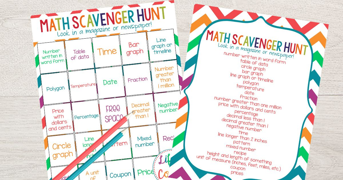Math Scavenger Hunt Math Printable For Elementary Students Math Cheat Sheet Math Homeschool Math