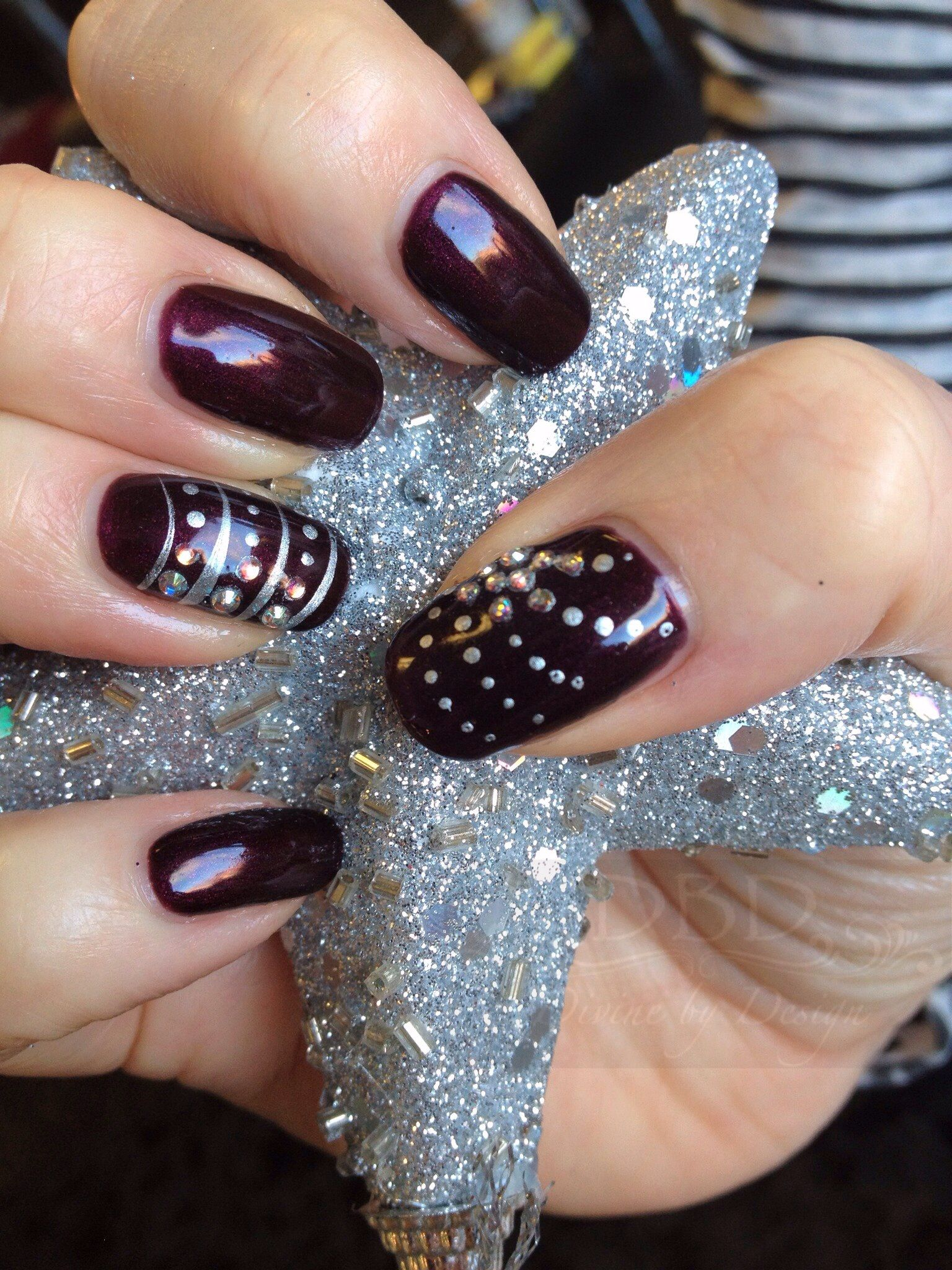 CND Shellac in Dark Lava with nail art and Swarovski crystal ...