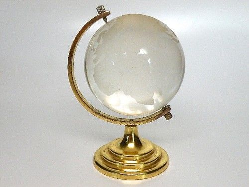 Etched Glass Movable World Globe with Gold Colored Stand Original Box