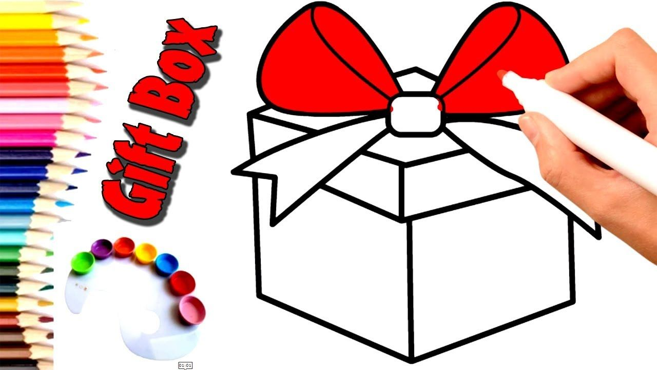 How To Draw Gift Box Draw A Christmas Gift Box Step By Step Easy Col