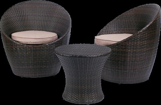 Petit salon de jardin BELIZE pour 2 personnes avec fauteuils ronds + ...