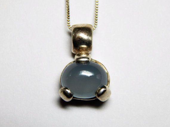 Vintage Moonstone Sterling Silver Pendant by SpookyHollowGems