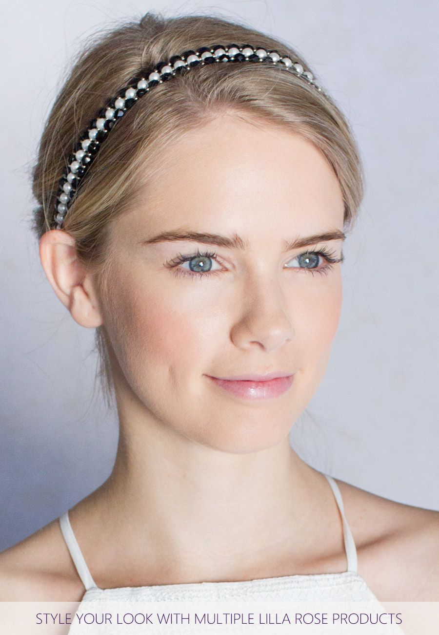 """Beaded hairband in jet faceted beads.            Plating: Nickel      Glass      Beaded length: 16 inches / 40.5cm      Removable adjustable elastic band               Elastic Color: Available in Black, Blonde, Brunette, or Silver      Elastic Length: Standard (4-5"""" / 10-13 cm), or Long (5.25-8.5"""" / 13-21.5cm)         Download the  Consultant Marketing Pack  for this product."""