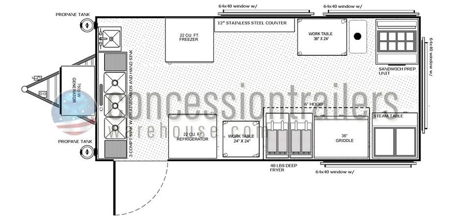 Stupendous 8X18 Concession Trailers Floor Plan Food Wagons In 2019 Wiring Cloud Geisbieswglorg