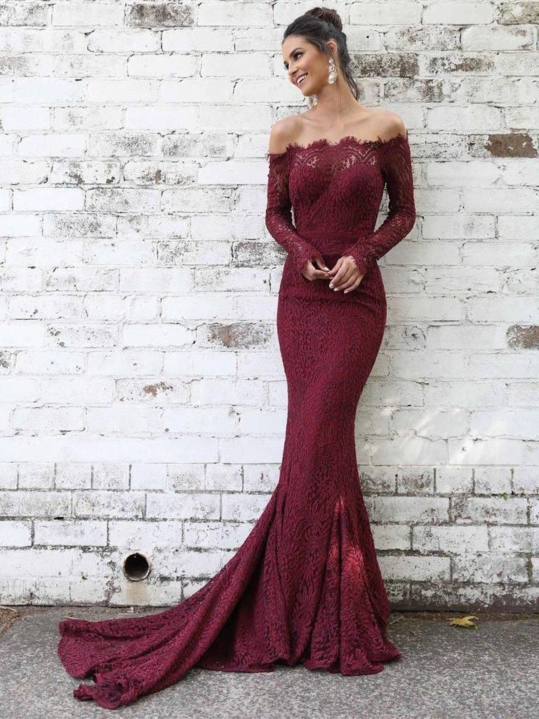 a9f8477a9f2 Long Sleeve Lace Maroon Mermaid Prom Dresses Off the Shoulder Formal Dress  ARD1416-SheerGirl