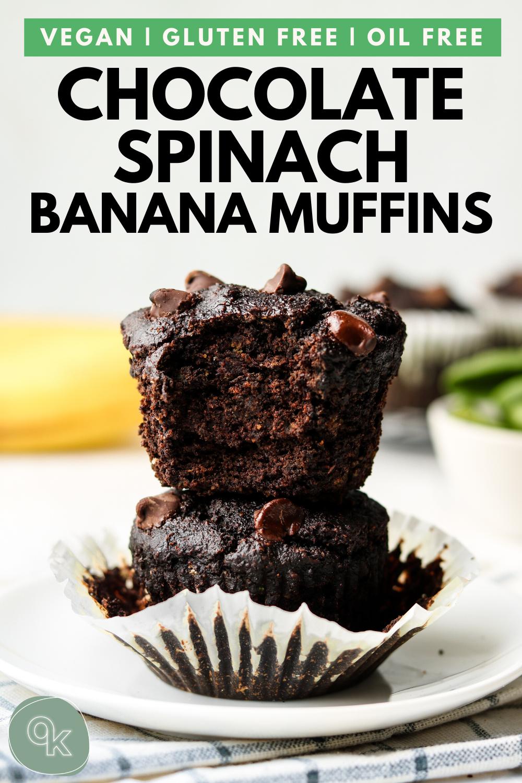 Gluten Free Chocolate Spinach Banana Muffins (Vegan + No Oil)
