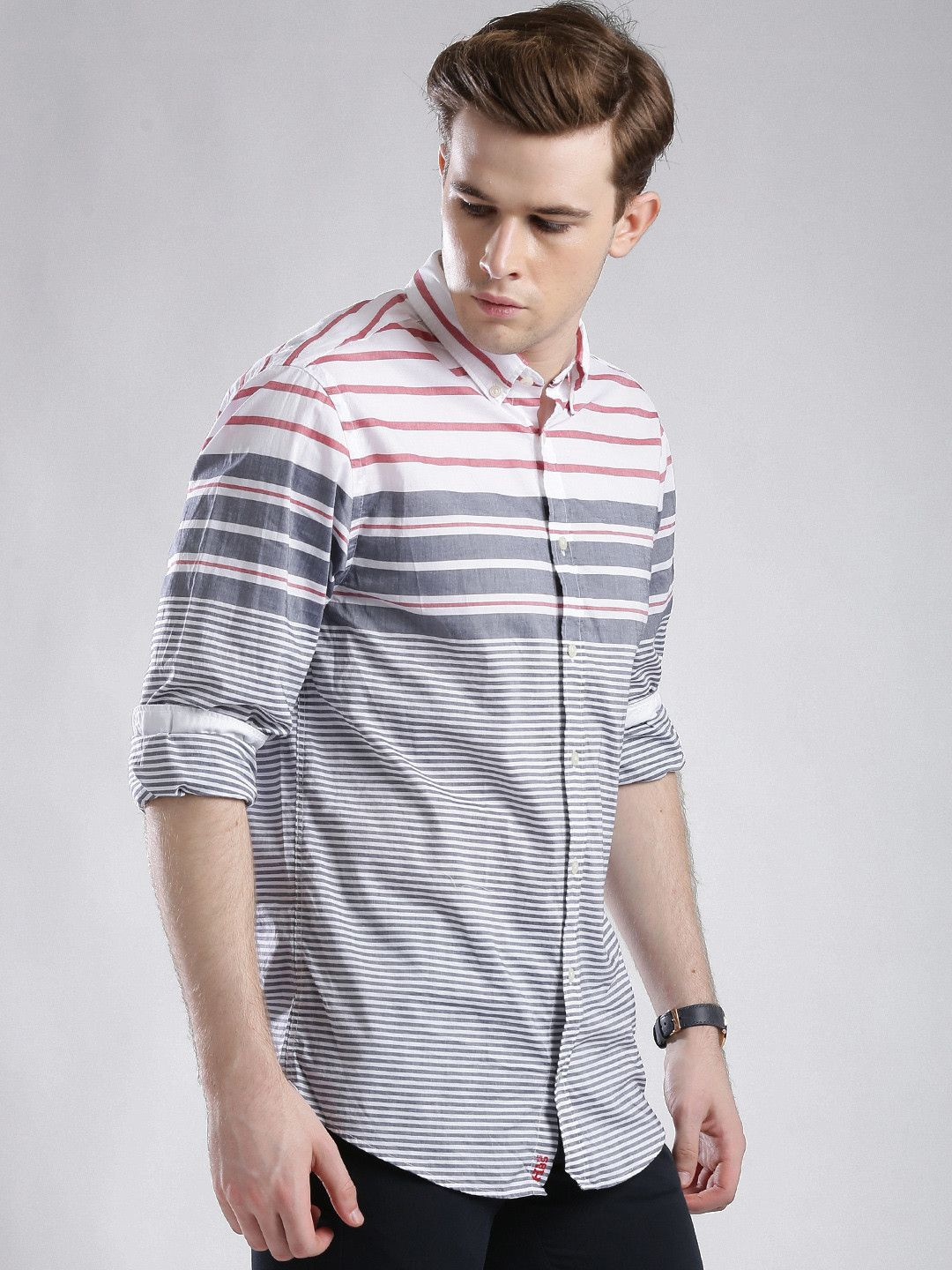 ce9be3c8a Buy Tommy Hilfiger Navy & White Striped New York Fit Casual Shirt - Shirts  for Men | Myntra