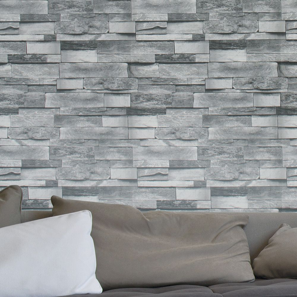 Haokhome Modern Faux Brick Wallpaper Dk Grey Textured Reali