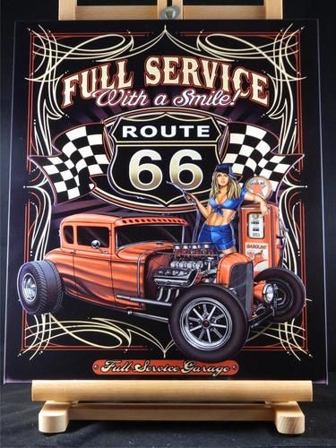 Full Service Texaco Route 66 Hot Rod Layered 3D Metal Wall Art Made ...