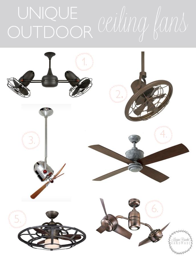On my hunt for a fan for our screened-in-porch, I've come across some really unique options. Sharing some of my favorite outdoor ceiling fans I've come across.
