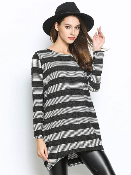 Pullover Knit Sweater Two Tone Striped Long Sleeve High Low Top For Women