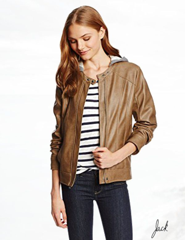 Jack Juniors Vincent 2-Tone Vegan Leather French Terry Hood Jacket