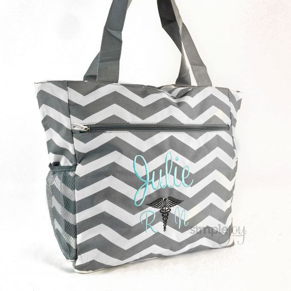 Many Colors Nurse Bag Tote Monogrammed By Simplejoy Etsy
