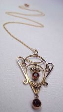 Antique Edwardian 9ct Gold Garnet Gemstone & Seed Pearl Pendant Necklace & Chain