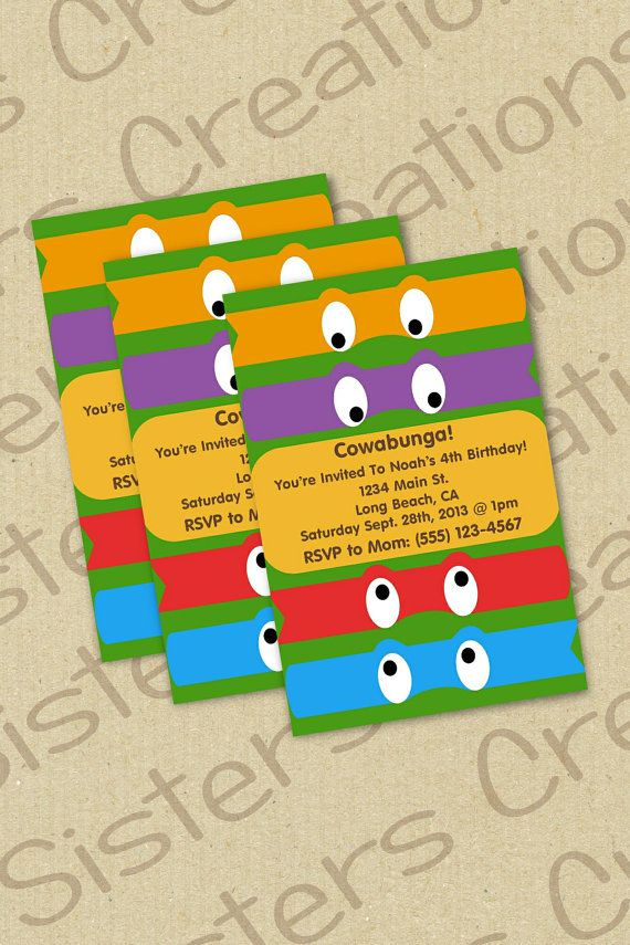 Ninja Turtle Invitation TMNT Pinterest Ninja turtle