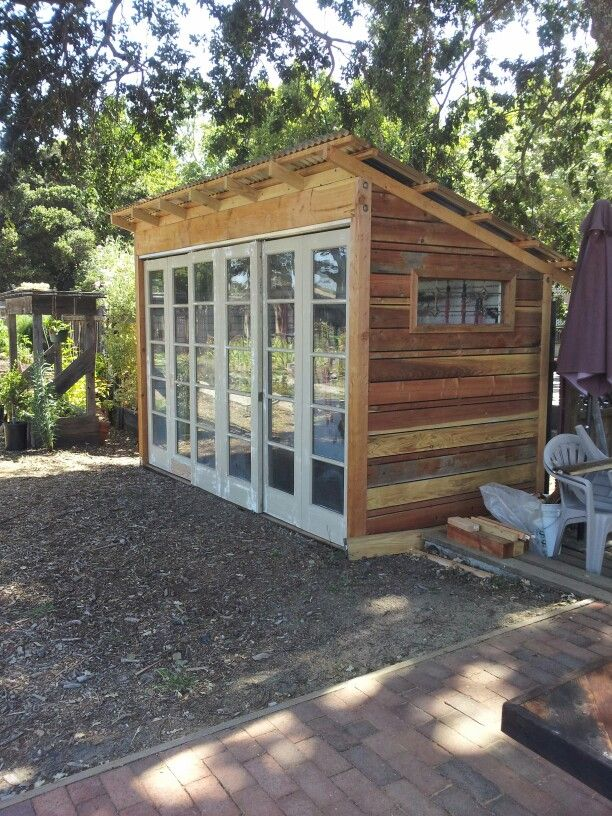 reclaimed tool shed made from old fence boards and recycled french doors she sheds pinterest. Black Bedroom Furniture Sets. Home Design Ideas