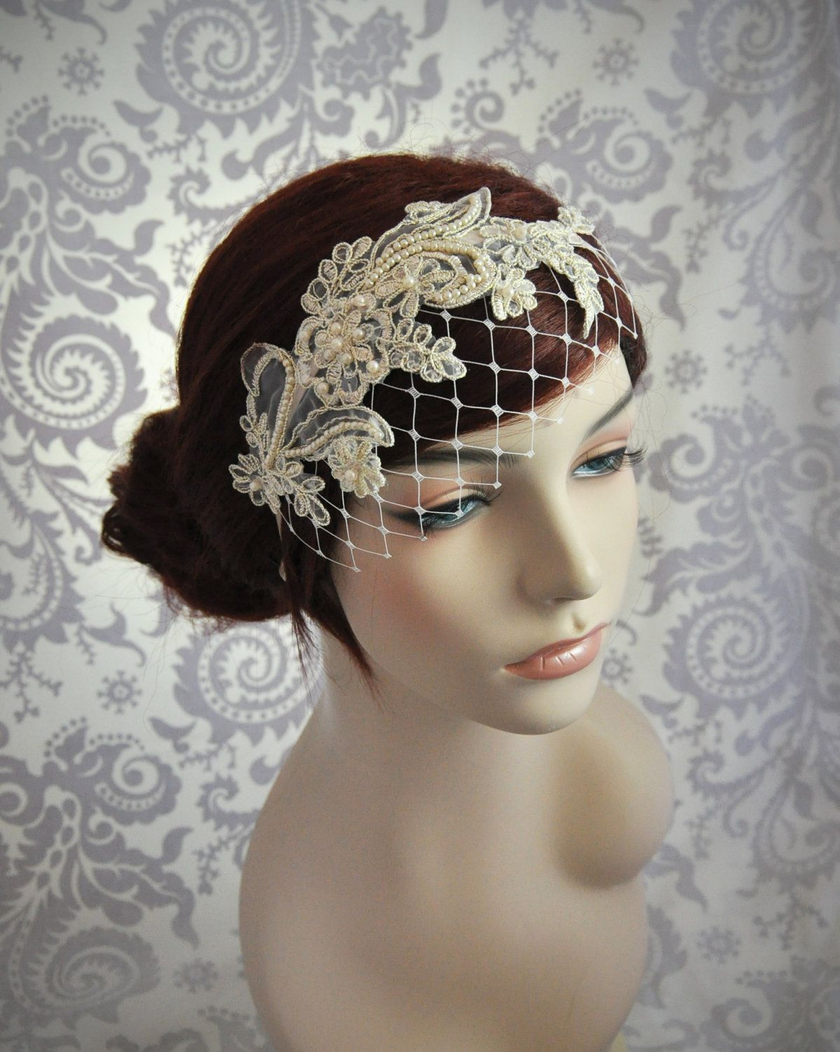 Champagne birdcage veil with merry widow netting and