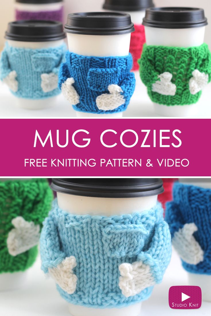 Knitted Coffee Cozy Sweaters: Free Pattern by | Coffee cozy, Cozy ...
