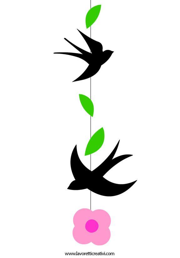 Addobbi Primavera Aula Scuola Sagome Di Rondini E Fiore Di Pesco Da