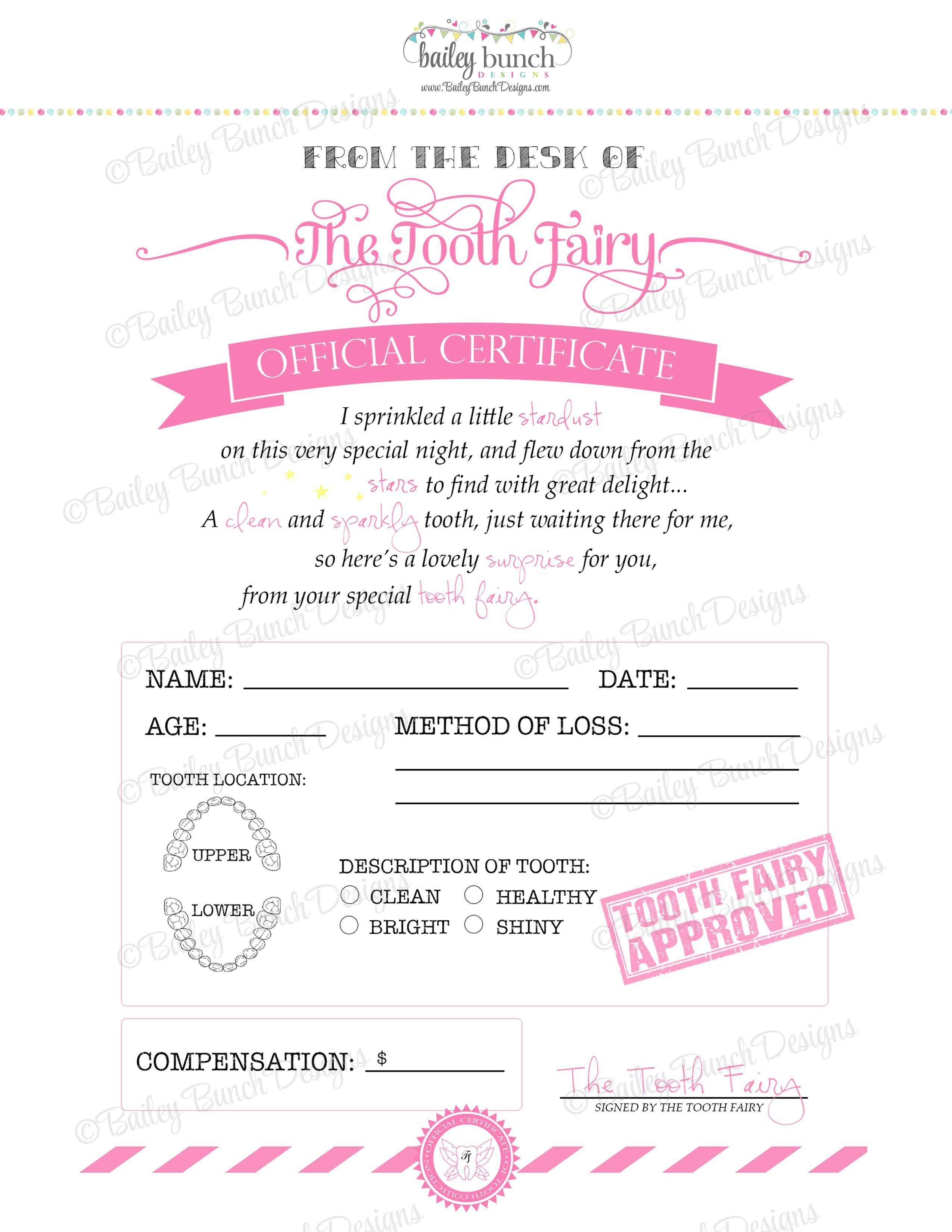 tooth fairy certificate pink instant download idtoothpink0520 tooth fairy receipt tooth fairy certificate