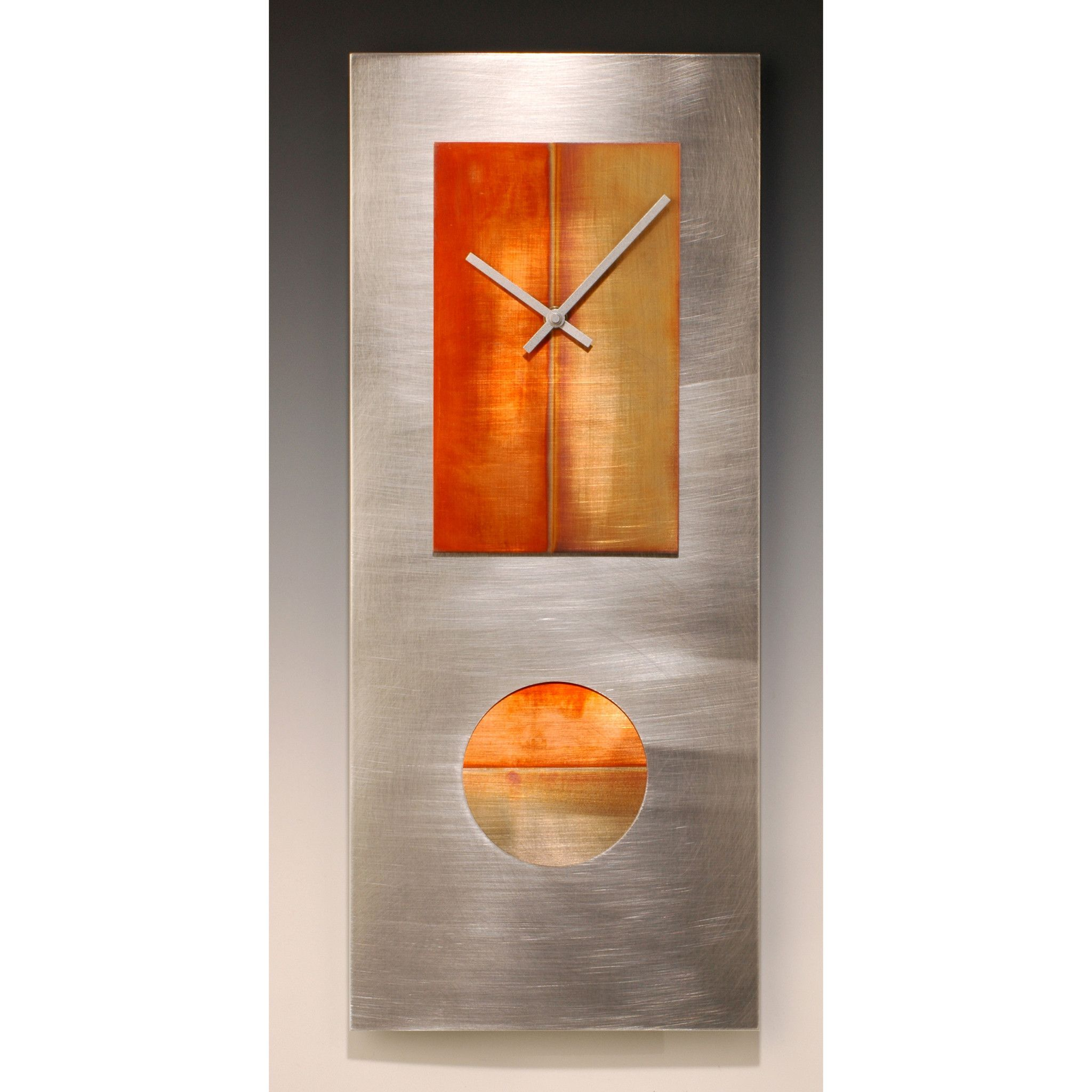Steel And Copper 24 Pendulum Clock By Leonie Lacouette Wall Clocks