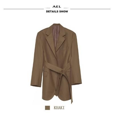 AEL High Quality Fabric 2019 Spring Autumn Women Blazers Suits Khaki Loose Designs Business Ladies Casual Suits Daily Clothing