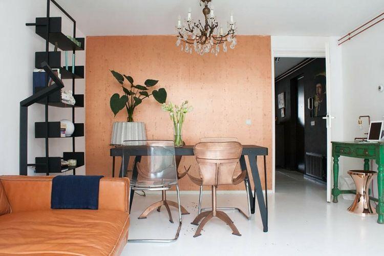 Wohnzimmer in kupferfarbe streichen coole idee f r - Wohnzimmer streichen idee ...
