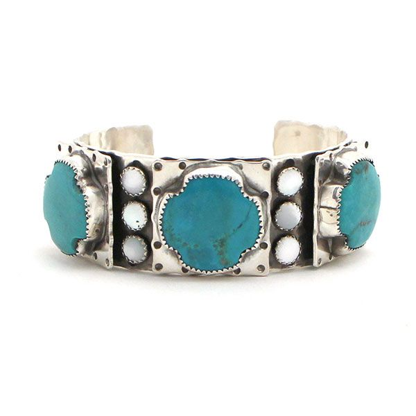 Richard Schmidt Turquoise and Mother of Pearl Cuff at Maverick Fine Western Wear