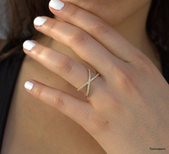 X Ring CZ Stone Wedding Band Gold Plated By TommassiniJewelry Want This In Criss CrossWedding