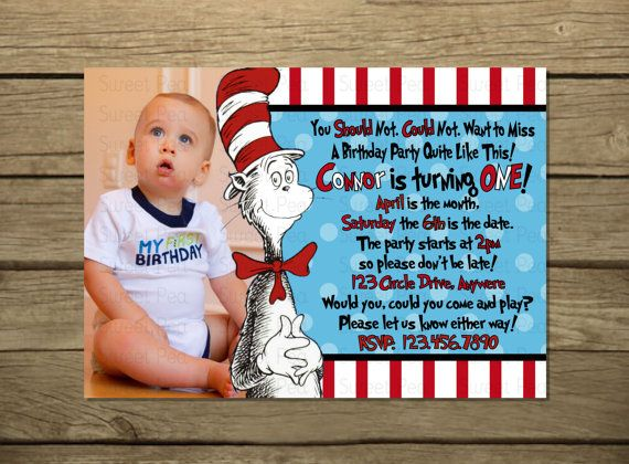 Dr Suess Birthday Invitation Or Thank You Card A No Picture Option