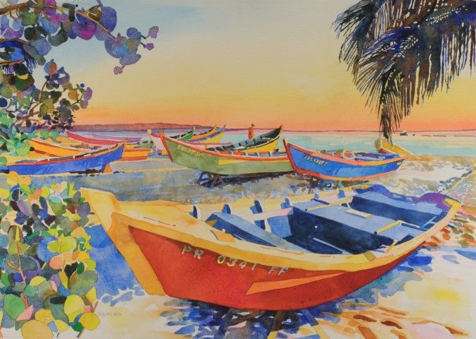 robert leedy, watercolor, watercolour, caribbean, puerto rico, aguadilla, crash boat, yola, boat painting, marine painting