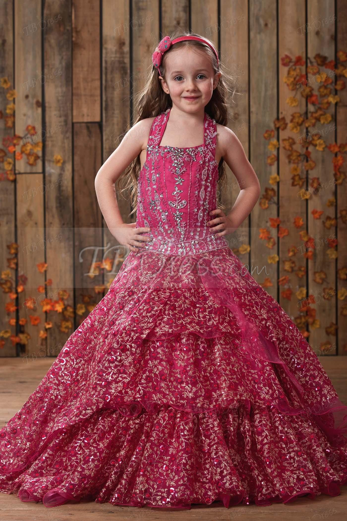 Fashion A-Line Halter Floor-length Sequins Flower Girl Dress