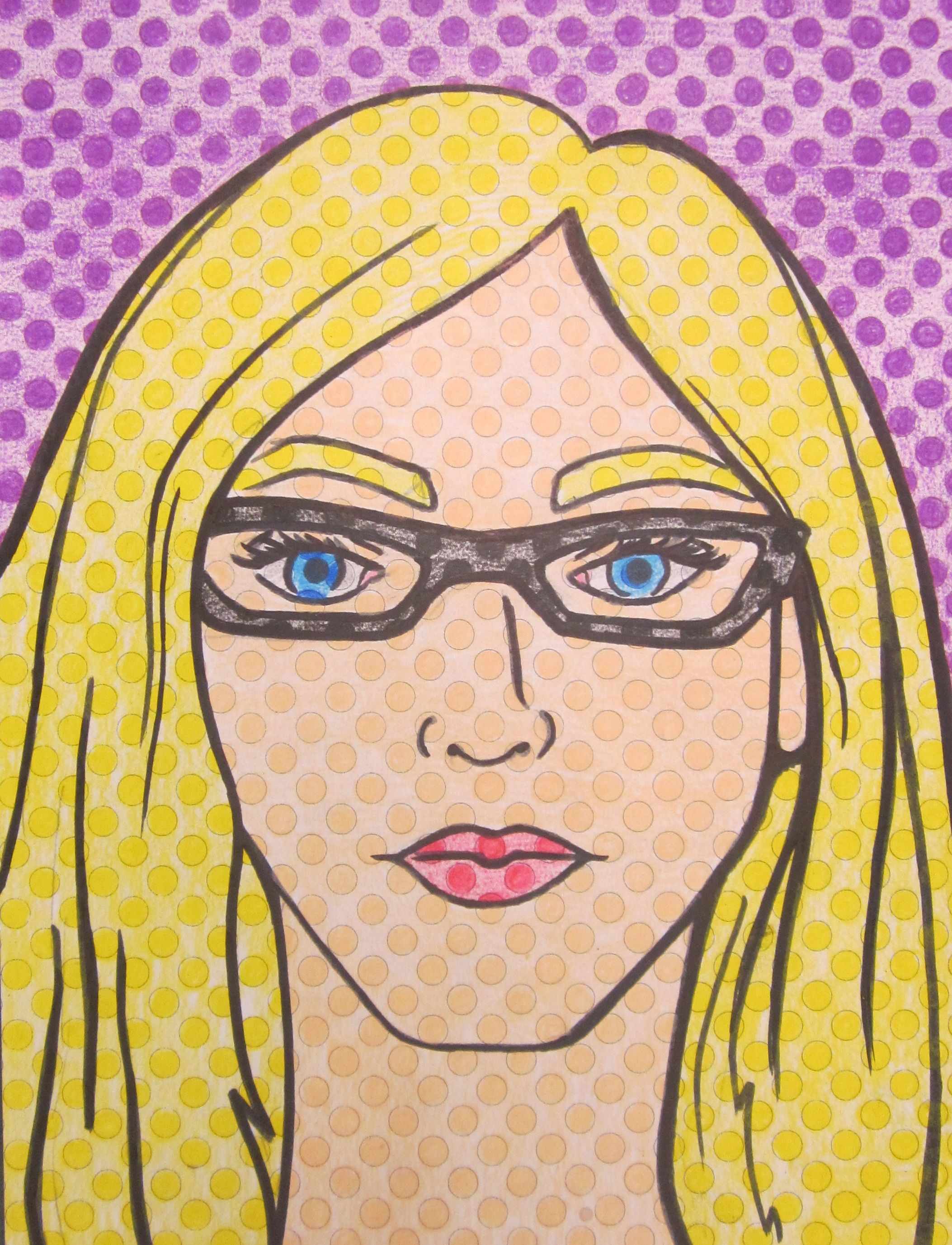 My teacher self portrait example lichtenstein pop art portrait lesson handout has pre printed dots they just draw sharpie and color