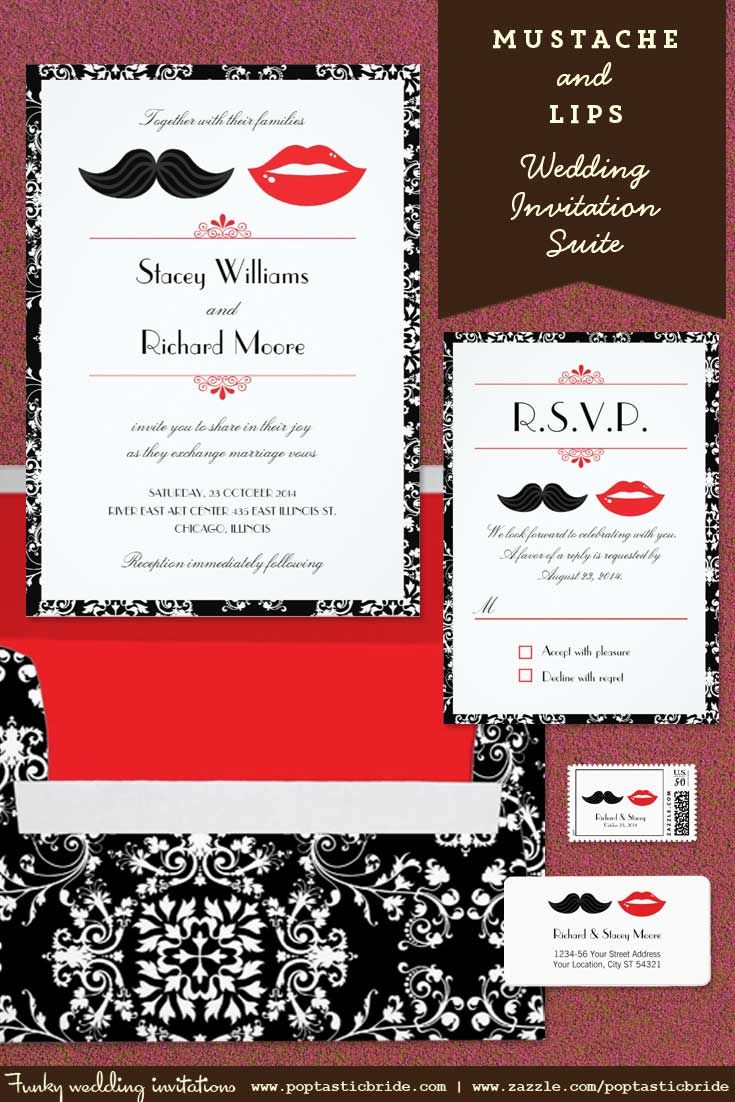 Mustache and lips wedding | lips and mustache invites | moustache ...