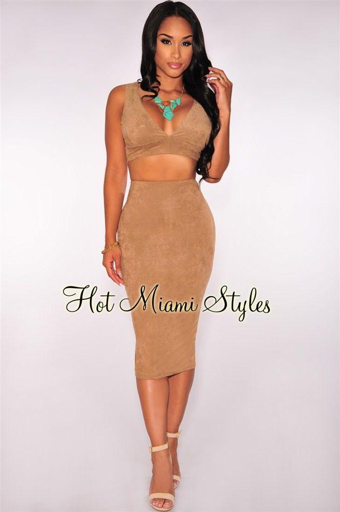 Hot Miami Styles · Kardashian Dresses · Two Pieces · Clubwear · Mocha ·  Boss · Cocktail · Moka · Club Clothes · Mocha Faux Suede Bralette Two Piece  Set c8585e59c