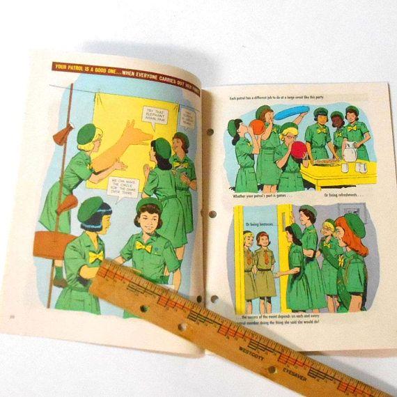 #Vintage 1964 #Girl #Scouts book Patrol Junior #cartoon #comic #gsa #brownie #etsy #etsykids
