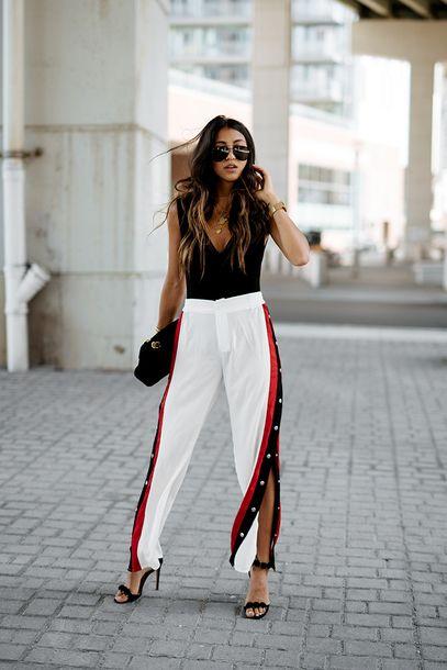 3d2024b42fb2 pants tumblr white pants athleisure slit pants sandals sandal heels high  heel sandals black sandals top black top sleeveless sleeveless top  sunglasses shoes