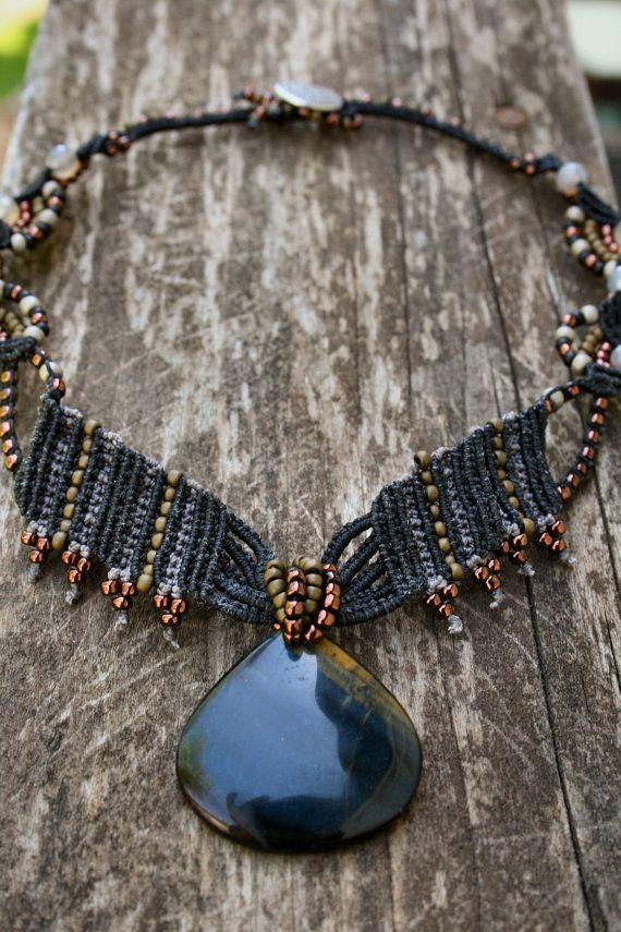 Black Nova Macrame Necklace - Tigers Eye Pendant - Beaded Macrame Jewelry