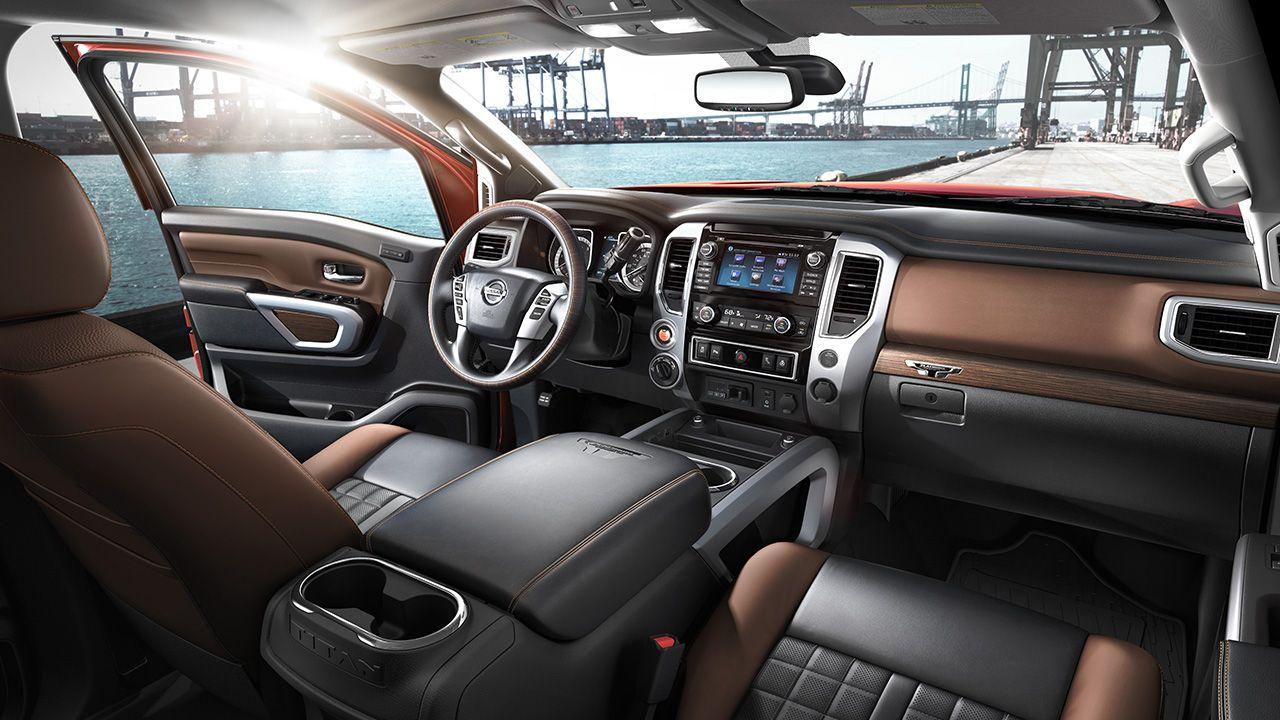 2017 Nissan Titan interior in Black/Brown Leather Nissan