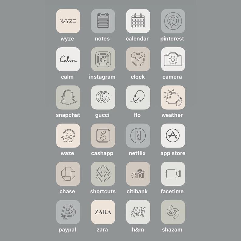 18,000+ iPhone IOS 14 Minimalistic App Icons Pack