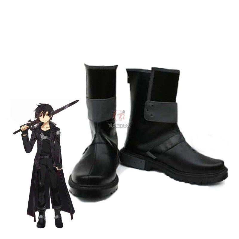NEW Men Sword Art Online Kazuto Kirigaya Kirito Cosplay Costume Shoe Boots