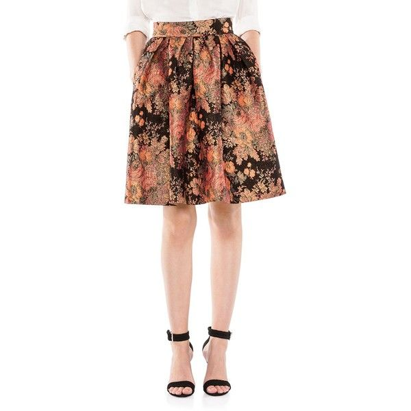 Maje Jaggy Floral Jacquard Flared Skirt ($375) ❤ liked on Polyvore featuring skirts, jacquard, floral skater skirt, skater skirt, circle skirt, floral skirt and flared skirt