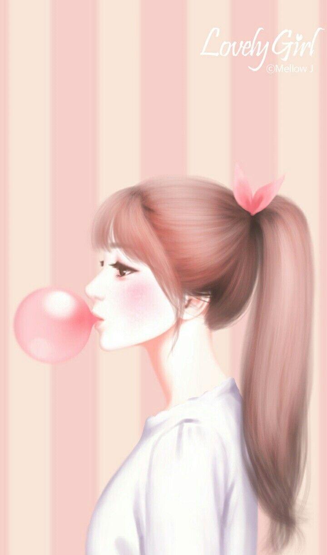 Nor Syafiqah Korean Art Cute Girl Background Illustration Pretty