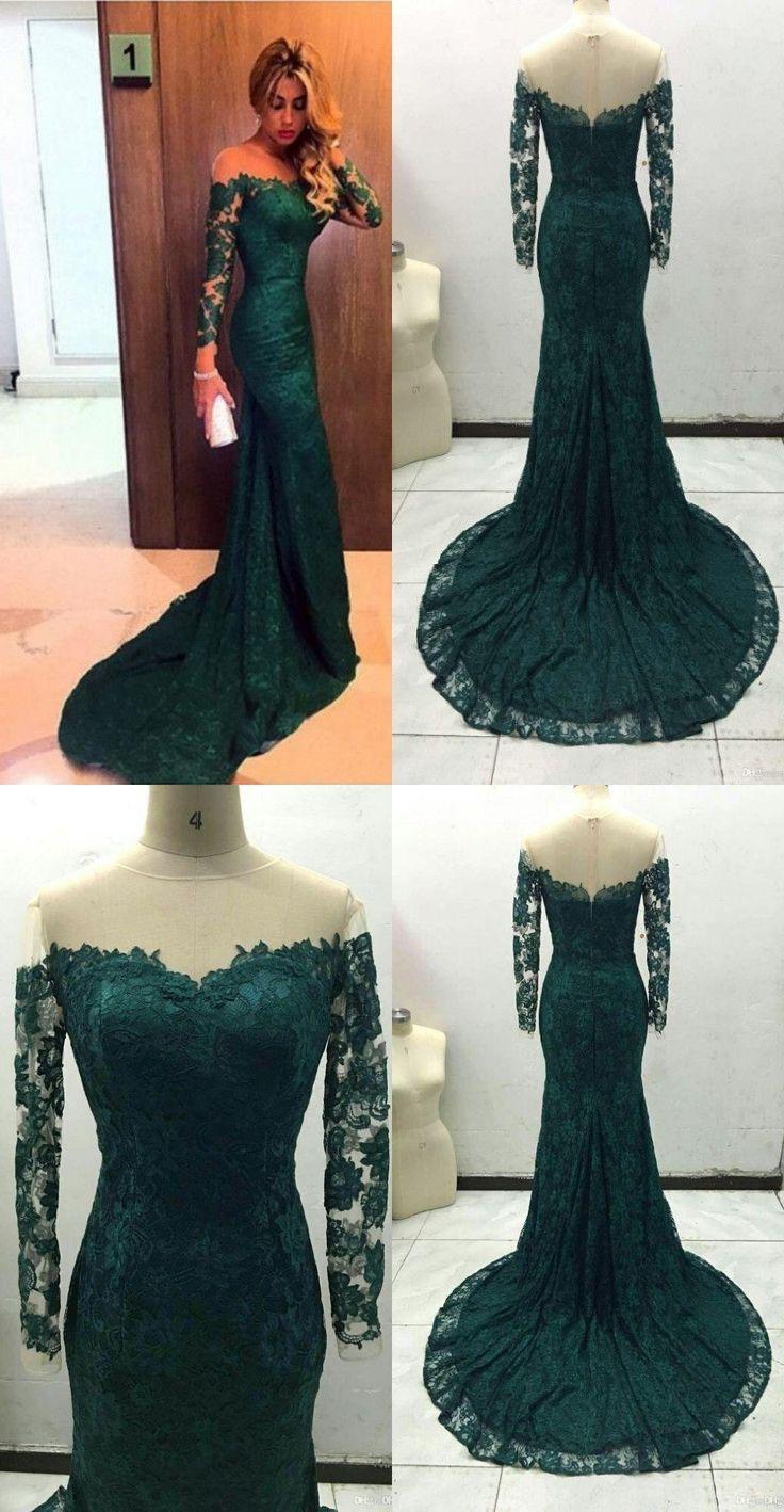 Elegant long sleeves mermaid lace long evening dress prom