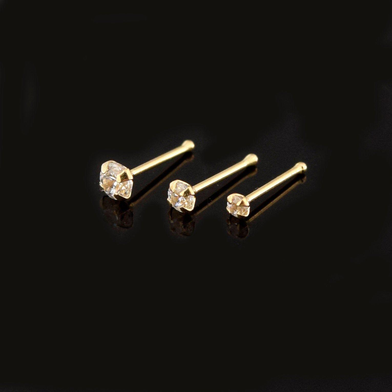 9k Gold Nose Bone Ring 3mm Butterfly 22G