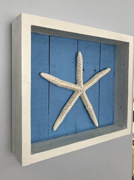 Handmade Starfish Shadowbox White Starfish Over Blue Background