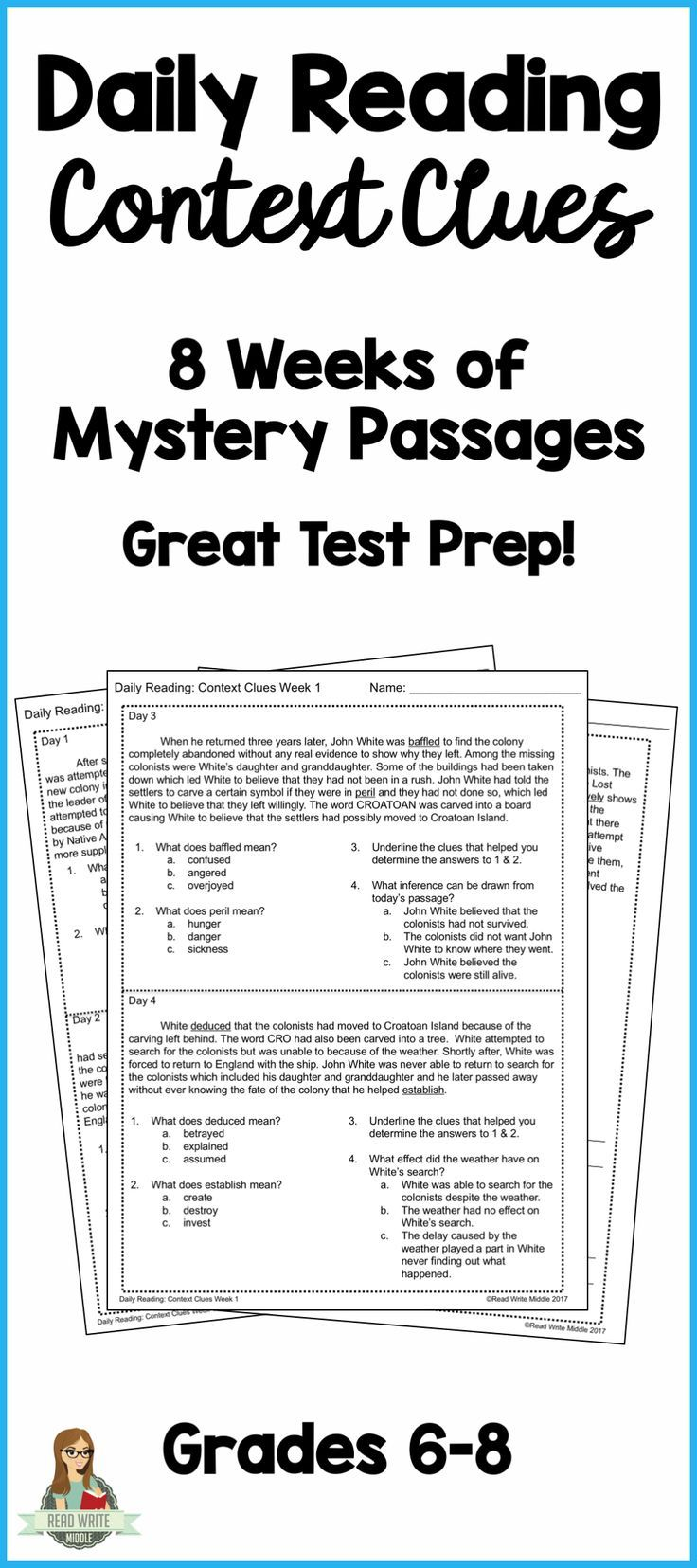 Need to help your middle school students practice context clues? This  resource provides eight weeks of…   Context clues [ 1655 x 736 Pixel ]