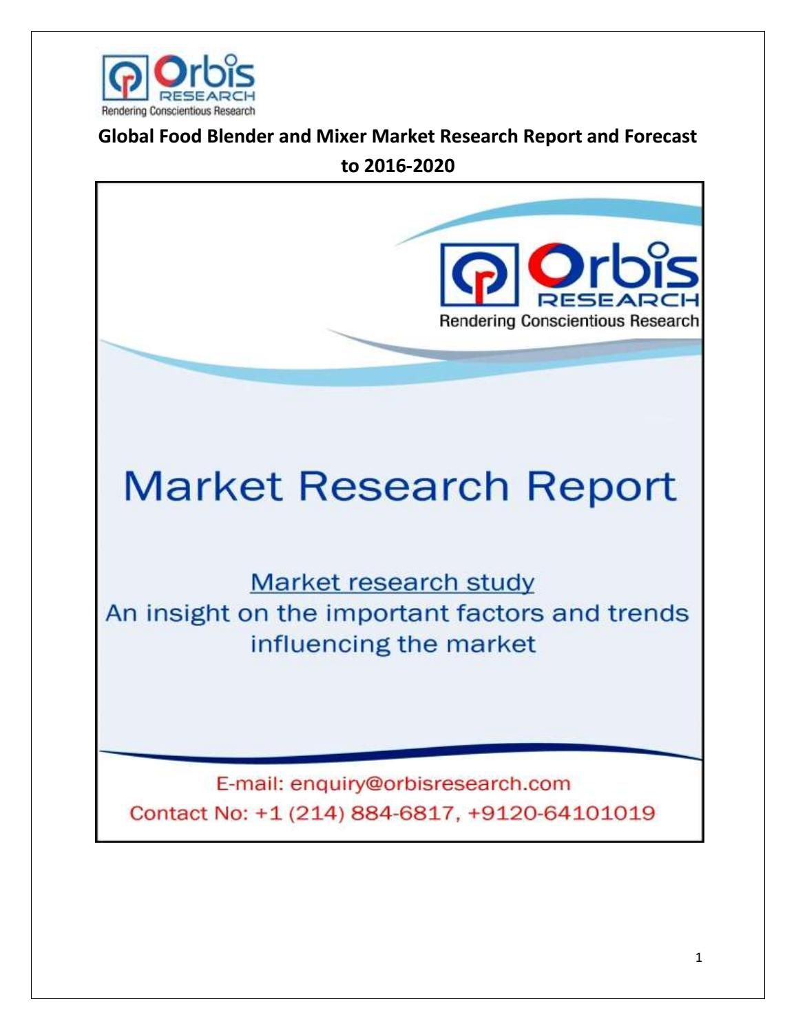 2016 Global Food Blender and Mixer Market Research Study